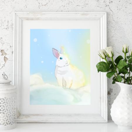 Nebel-Kaninchen, Poster, A4