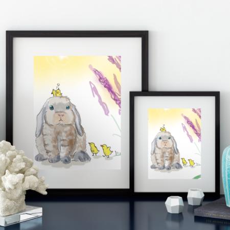 Kaninchen mit Küken, Poster