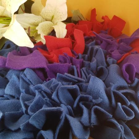 Schnüffelteppich für Kaninchen - Blau, Lila, Rot