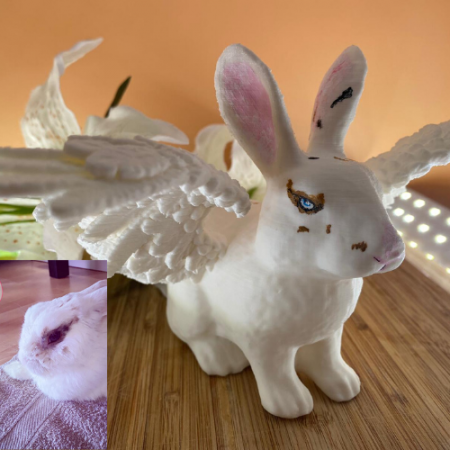 Selbstgemachtes 3D-Kaninchen bemalt 4