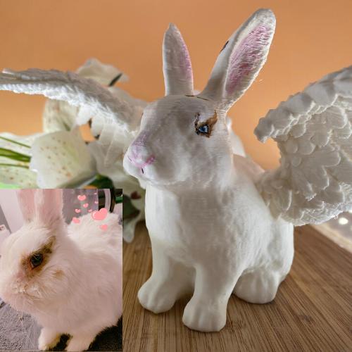 Selbstgemachtes 3D-Kaninchen bemalt 2